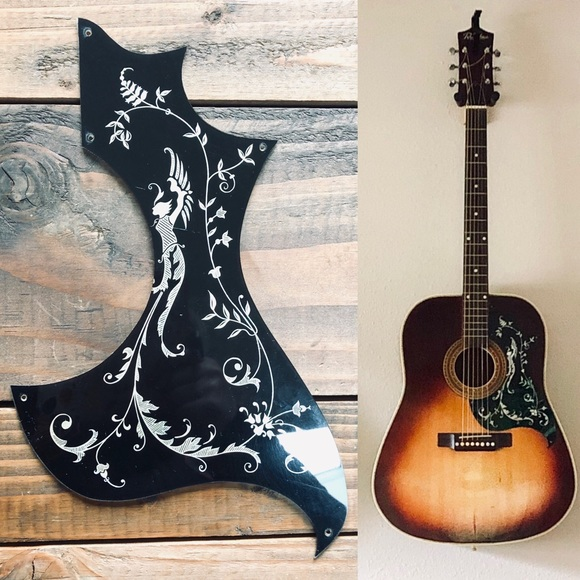 Vintage Abalone Inlay Floral Guitar Pickguard